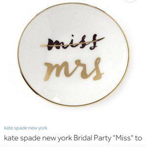 kate spade white miss to mrs ring dish nwt